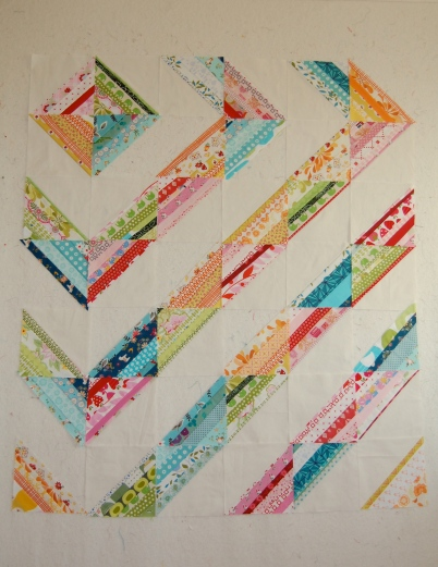 Pink Strings Quilt- Revised Version on the design wall