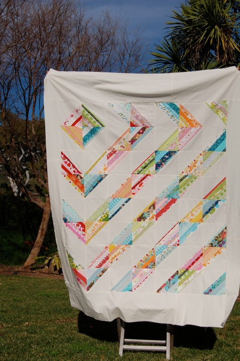 Scrappy Strings HST Quilt Top
