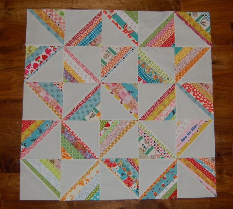 Untitled Scrappy HST quilt top