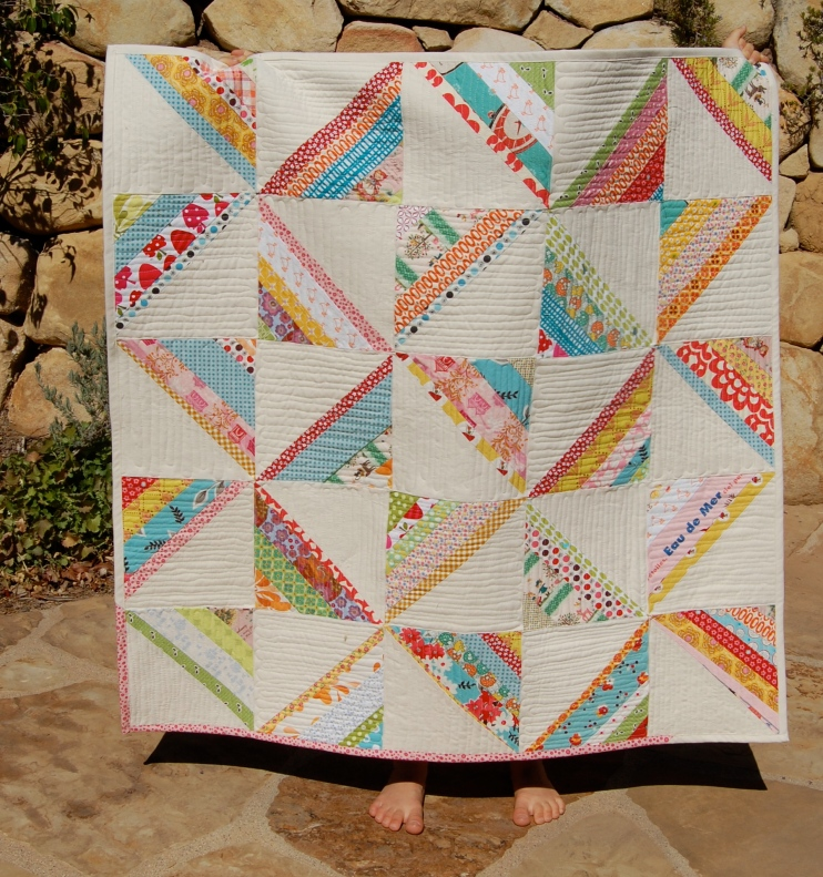 Scrappy Strings Square Quilt outside