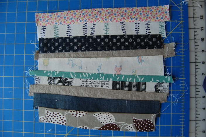 strips sewn and pressed