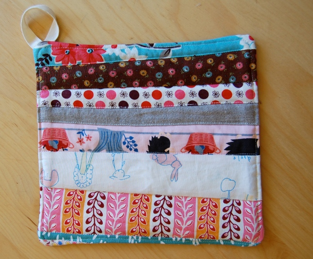 finished scrappy handmade hot pad