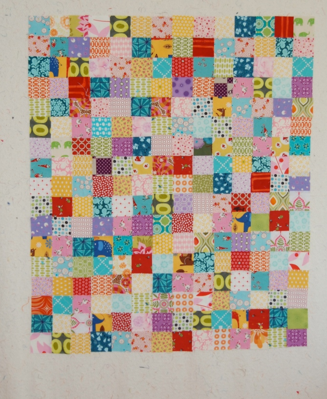 simple patchwork on the design wall