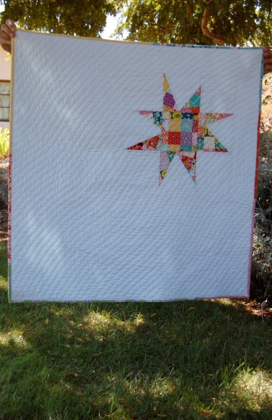 Scrappy Star Quilt under tree