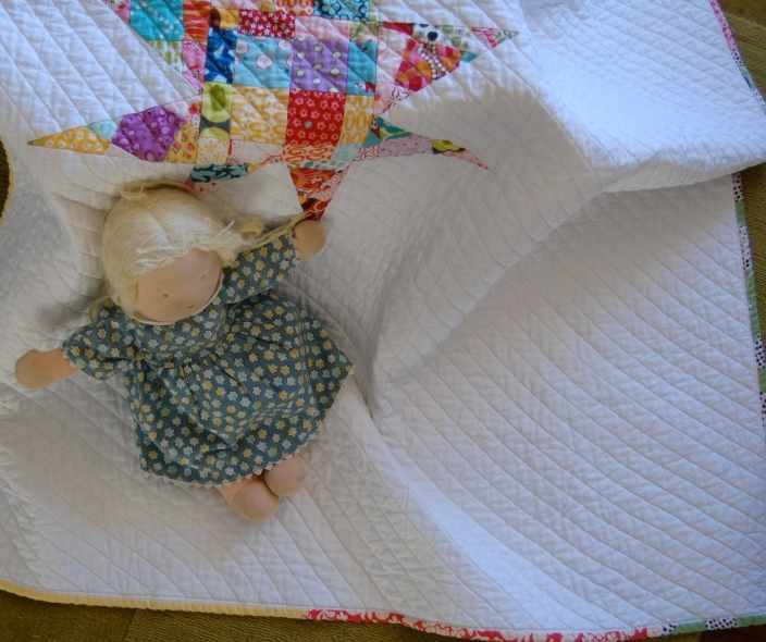 Scrappy Star Quilt with doll