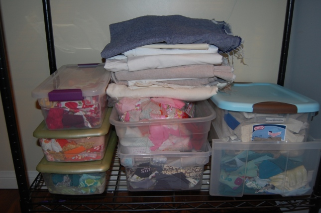 Background linens and scrap bins