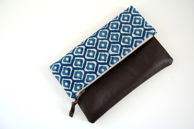 bloomingpoppies leather foldover clutch purse