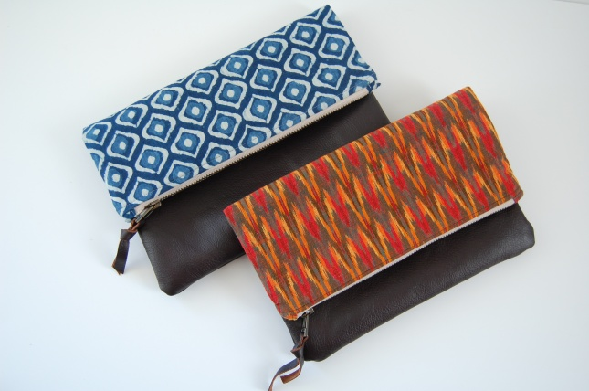 bloomingpoppies- leather, indigo and ikat foldover clutch
