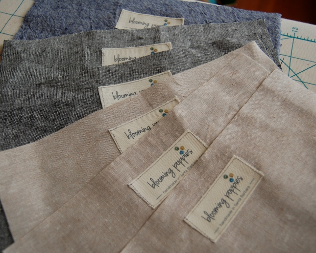 linen with my new bloomingpoppies labels