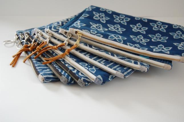 Finished indigo zipper pouches